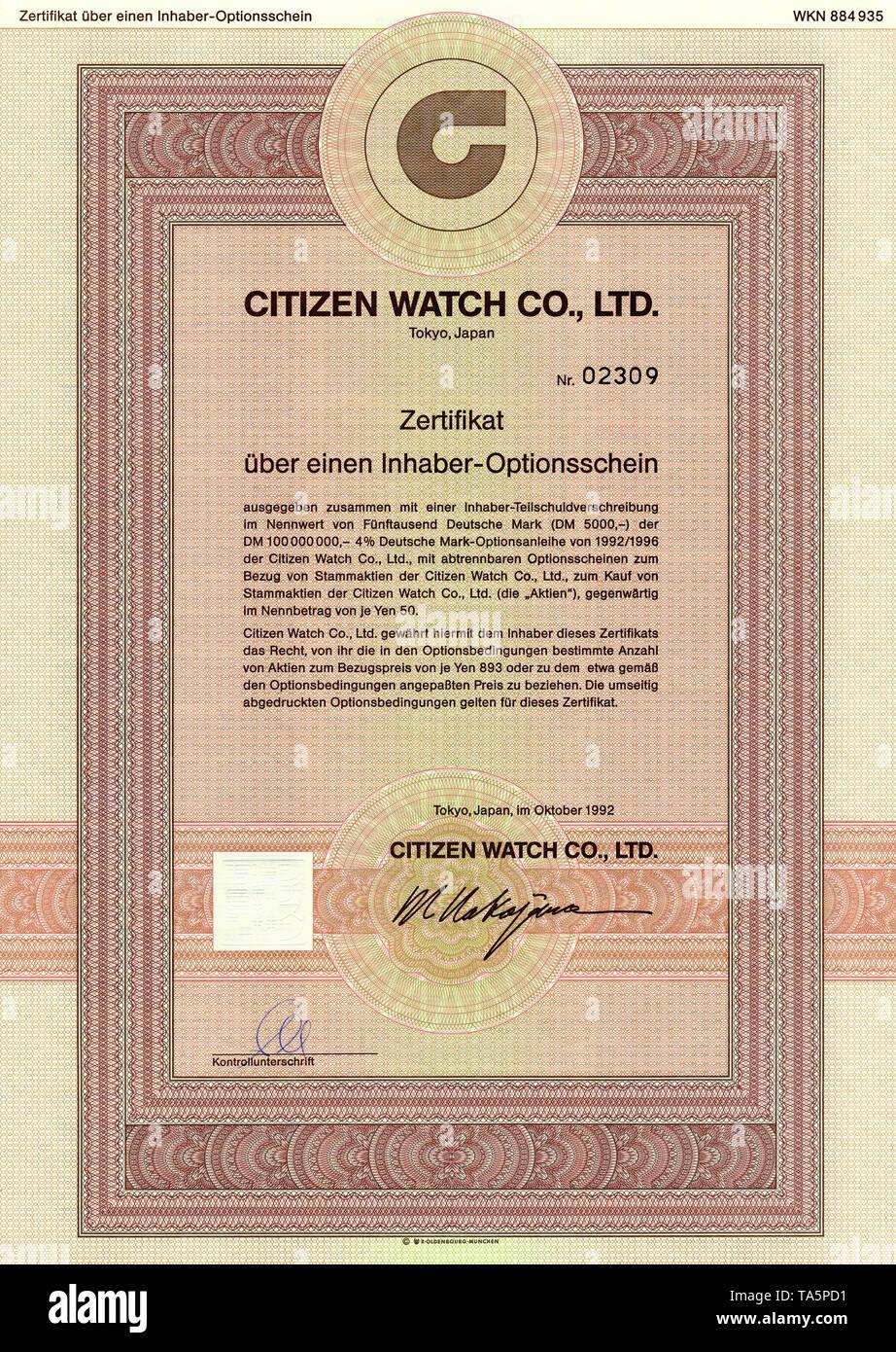 Historic stock certificate, Securities certificate, bearer warrant, Historisches Wertpapier, japanischer Inhaber-Optionsschein, japanischer Uhren- und Uhrwerkehersteller, Citizen Watch Co., Ltd., 1992, Tokio, Japan - Stock Image