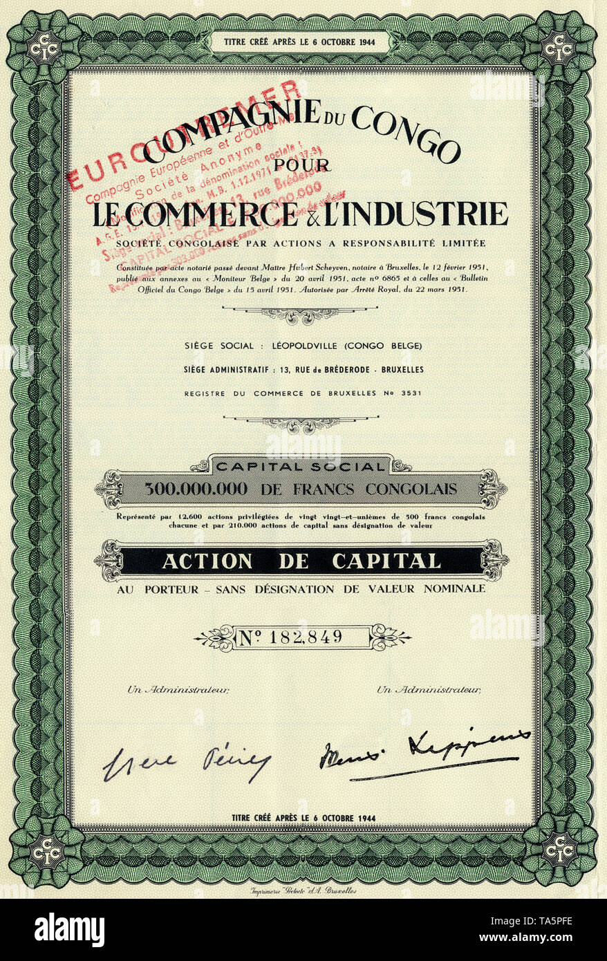 Historic colonial share certificate, trade and industry, 1944, Brussels, Belgium, Europe, Compagnie du Congo pour le Commerce and l'Industrie Societe Congolaise, Leopoldville, now Kinshasa, Belgian Congo, now Republic of Congo, Africa, Historisches Wertpapier, Kolonial-Aktie, Handel und Industrie, 1944 , Brüssel, Belgien, Europa, Compagnie du Congo pour le Commerce & l'Industrie Societe Congolaise, Leopoldville, Belgisch-Kongo, heute Republik Kongo, Afrika - Stock Image