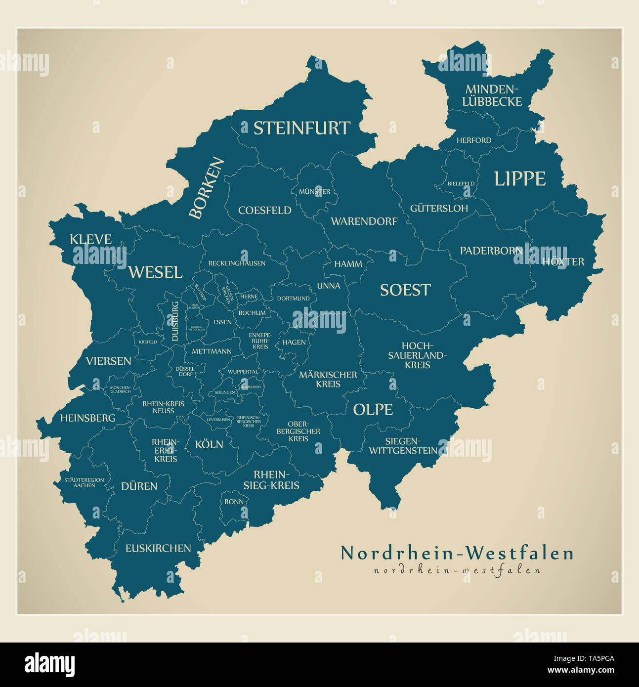 North Rhine Westphalia Map Stock Photos North Rhine Westphalia