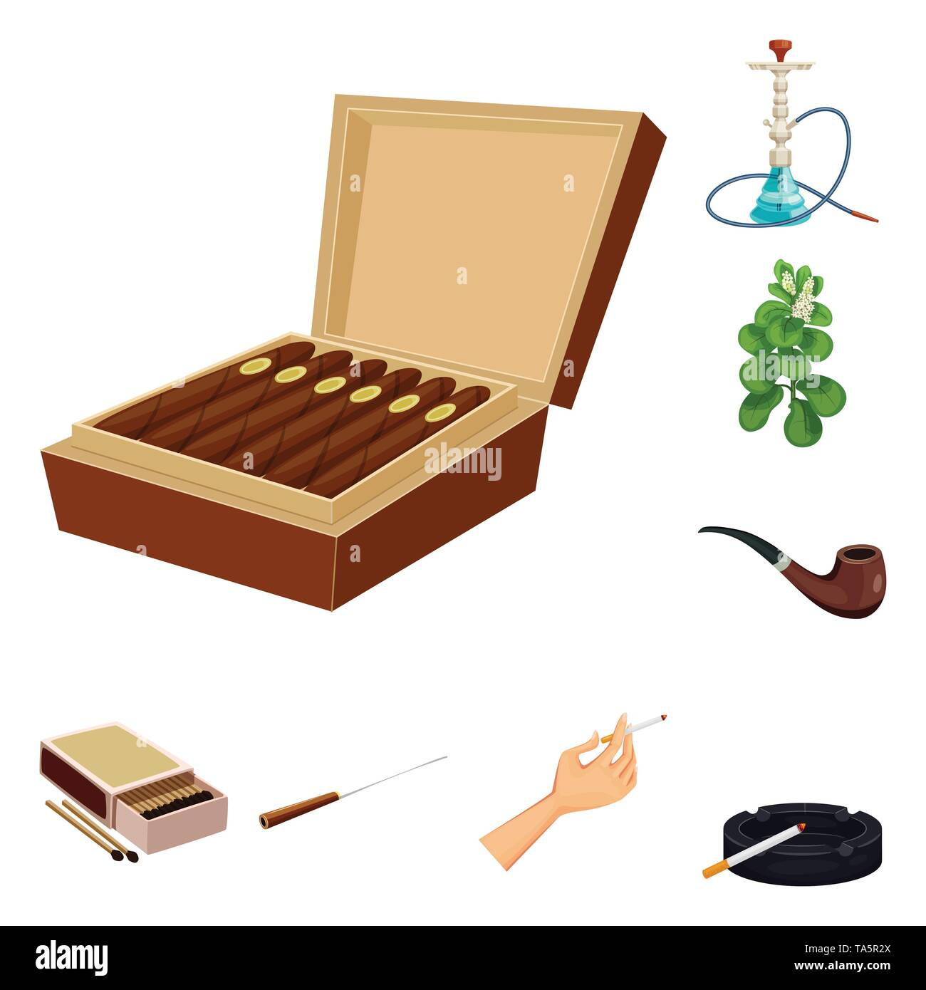 Vector design of cigarette and tobacco icon. Set of cigarette and nicotine stock symbol for web. - Stock Vector