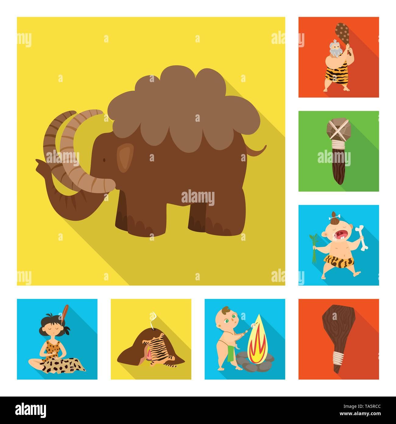 Vector illustration of evolution  and prehistory sign. Set of evolution  and development  stock vector illustration. - Stock Image