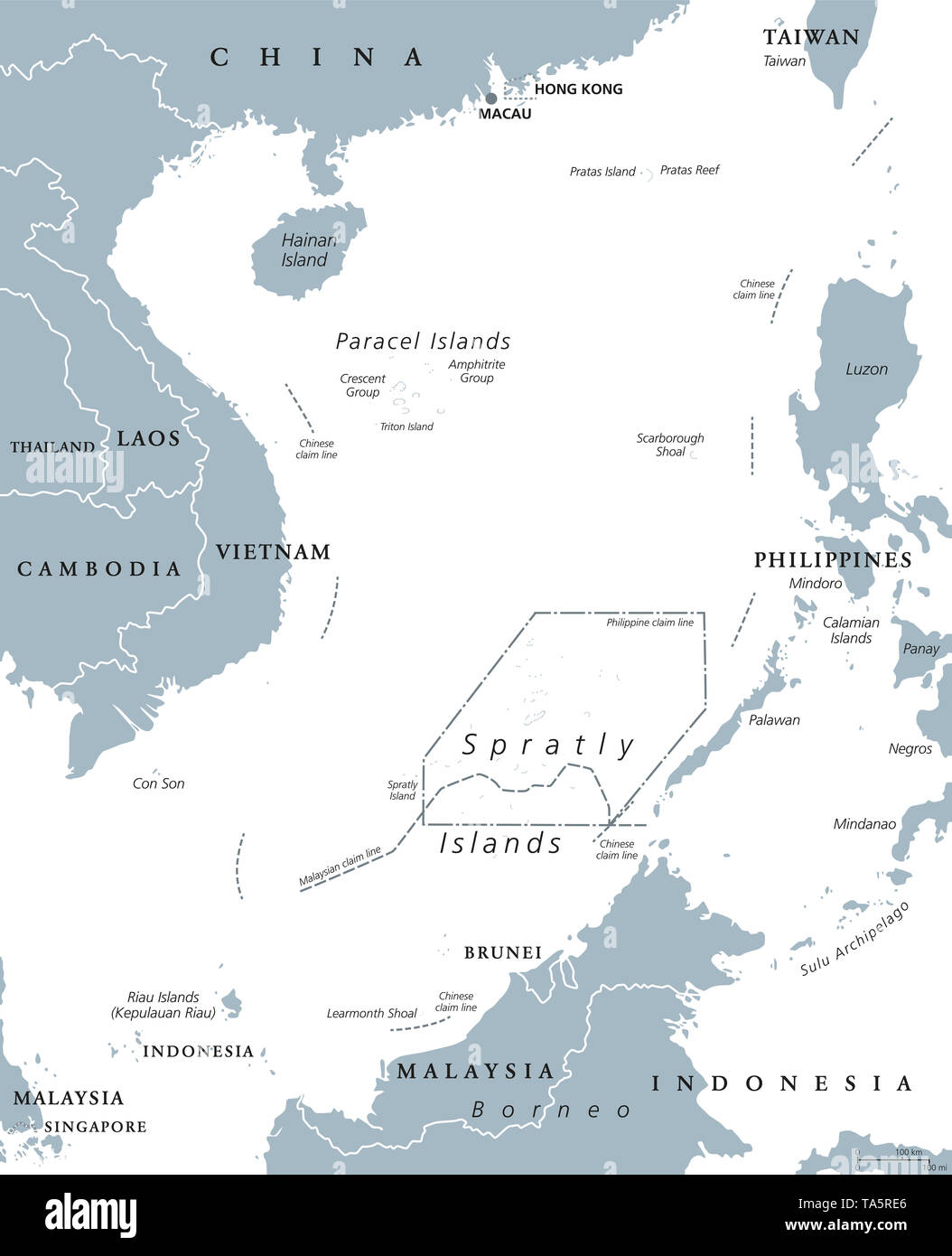 South China Sea Islands, political map. Paracel and Spratly Islands, atolls, cays and reefs. Partially claimed by China and other neighboring states. - Stock Image