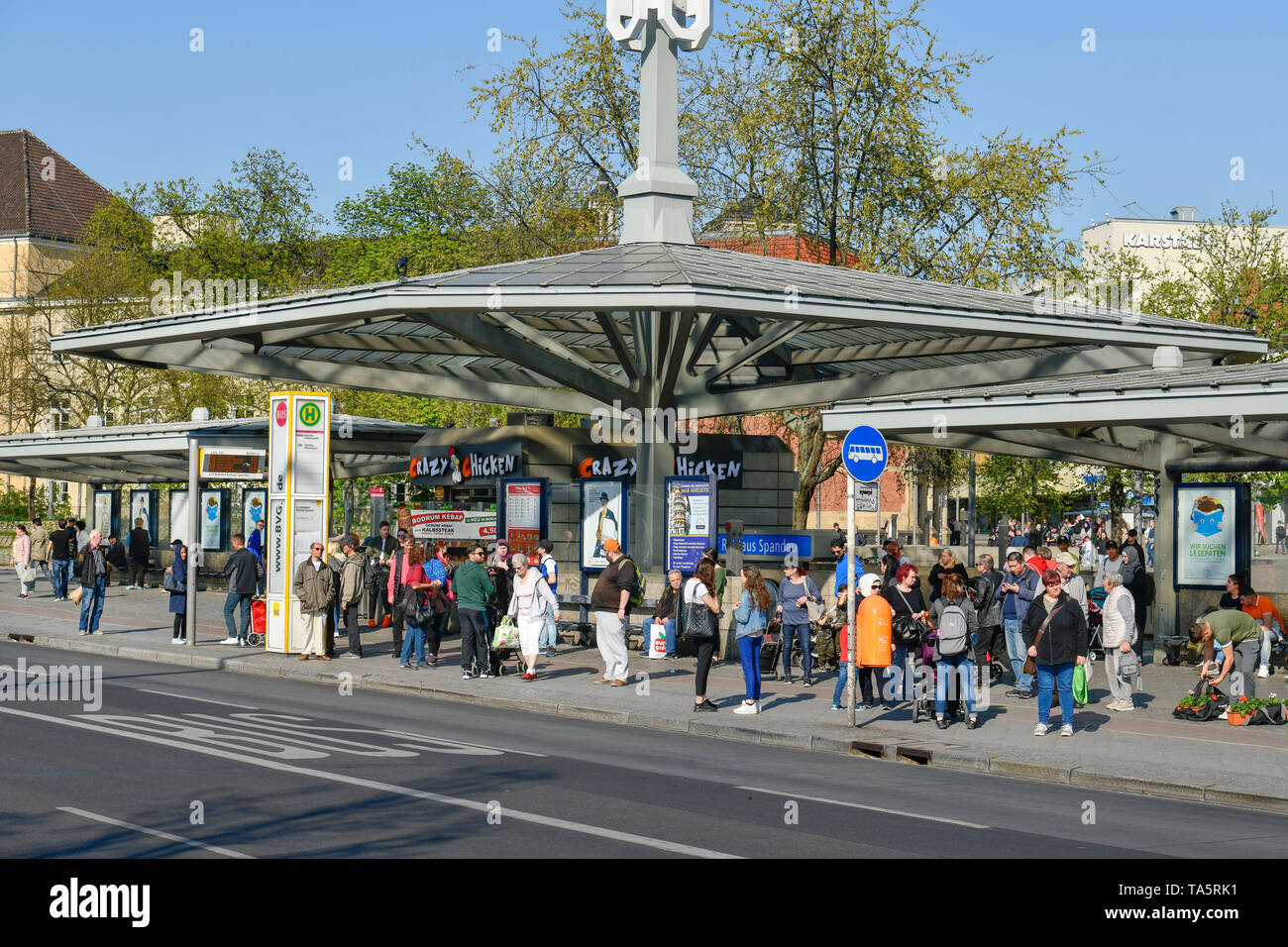 Bus stop, old town-dweller ring, Spandau, Berlin, Germany, Bushaltestelle, Altstädter Ring, Deutschland Stock Photo