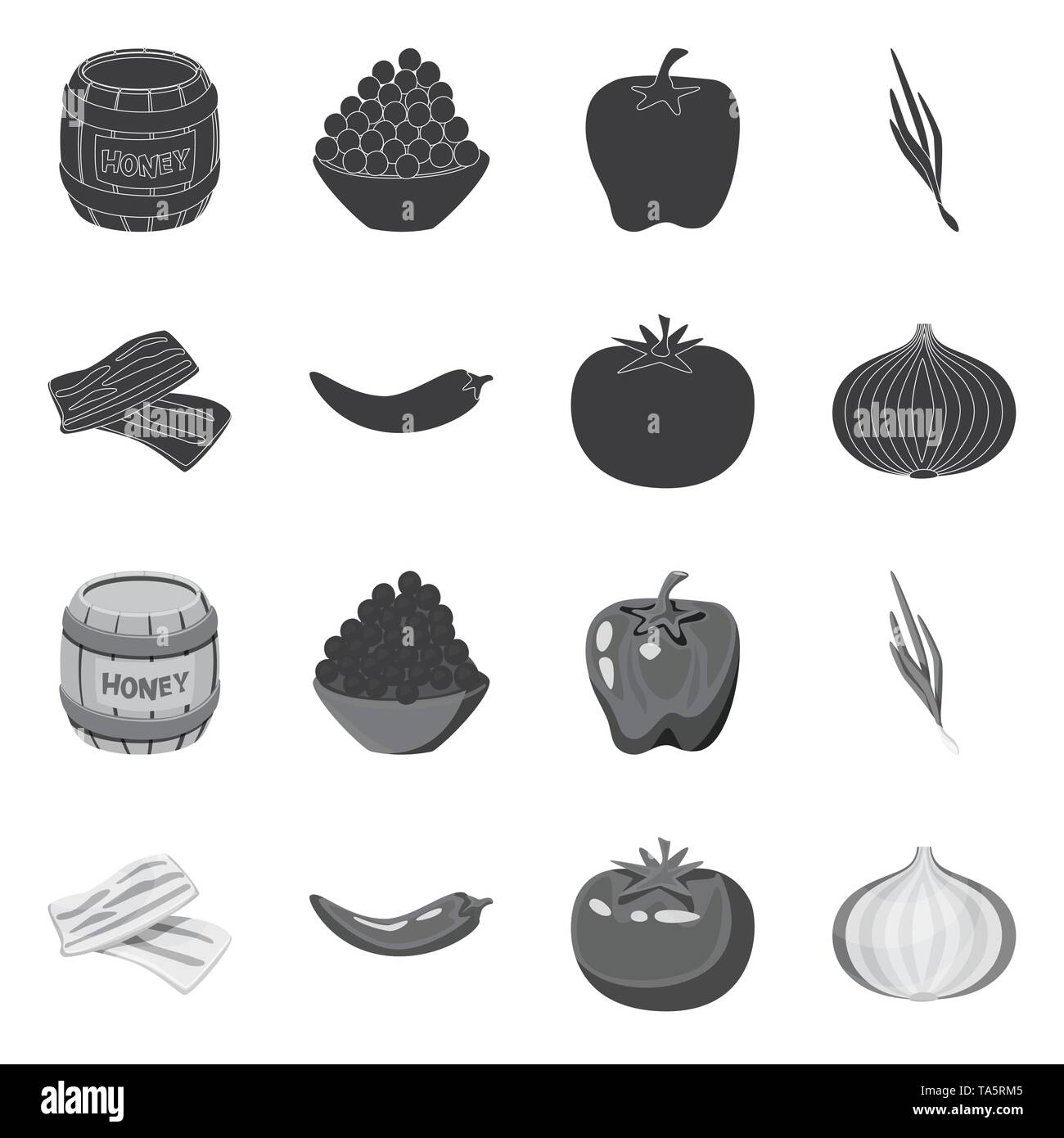 Isolated object of taste and product logo. Collection of taste and cooking vector icon for stock. - Stock Image