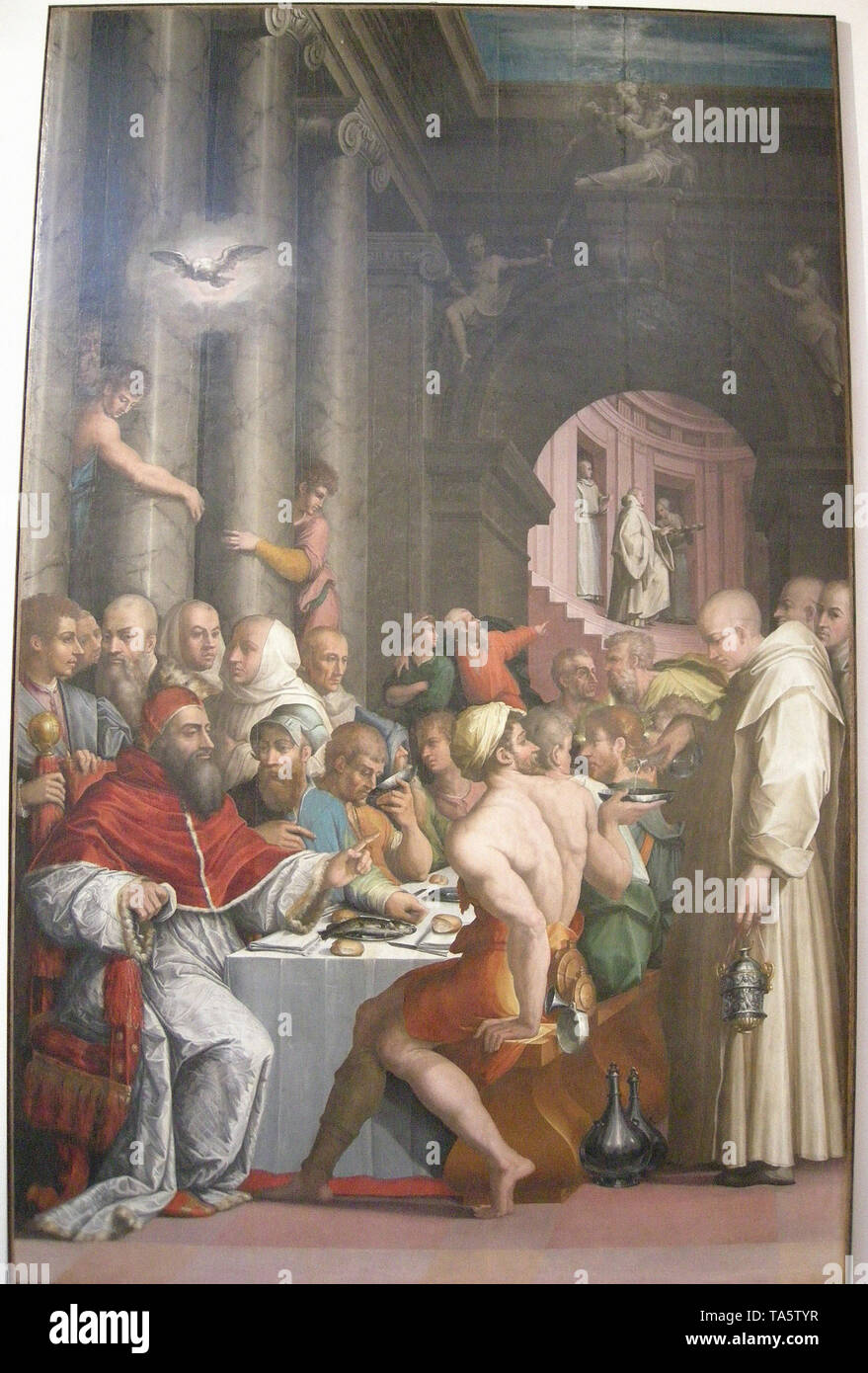 Giorgio Vasari - dinner st gregory great clement vii - Stock Image