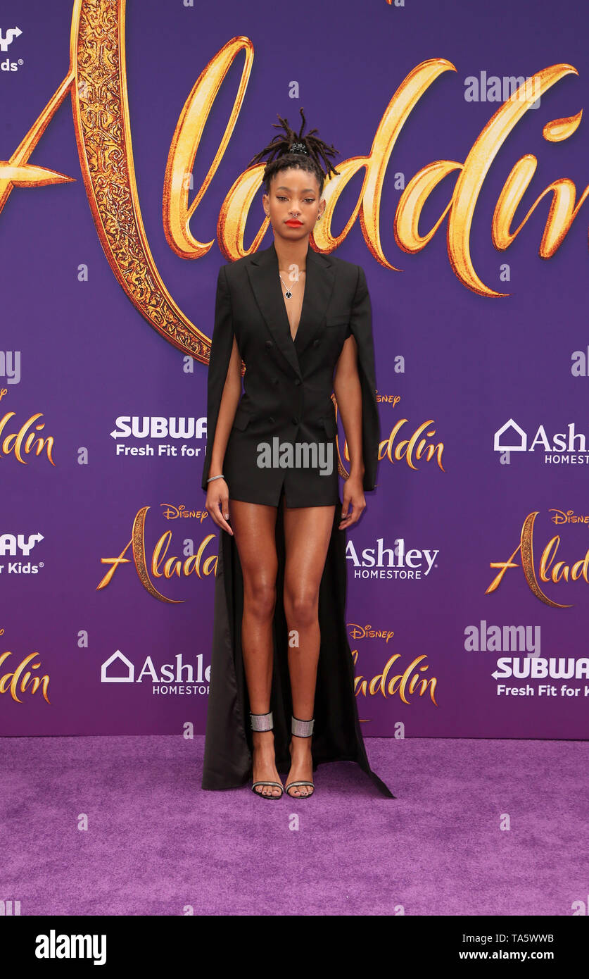 Hollywood, Ca. 21st May, 2019. Willow Smith, at the World Premiere of Disney's Aladdin at El Capitan theatre on May 21, 2019 in Hollywood., California on May 21, 2019. Credit: Faye Sadou/Media Punch/Alamy Live News - Stock Image