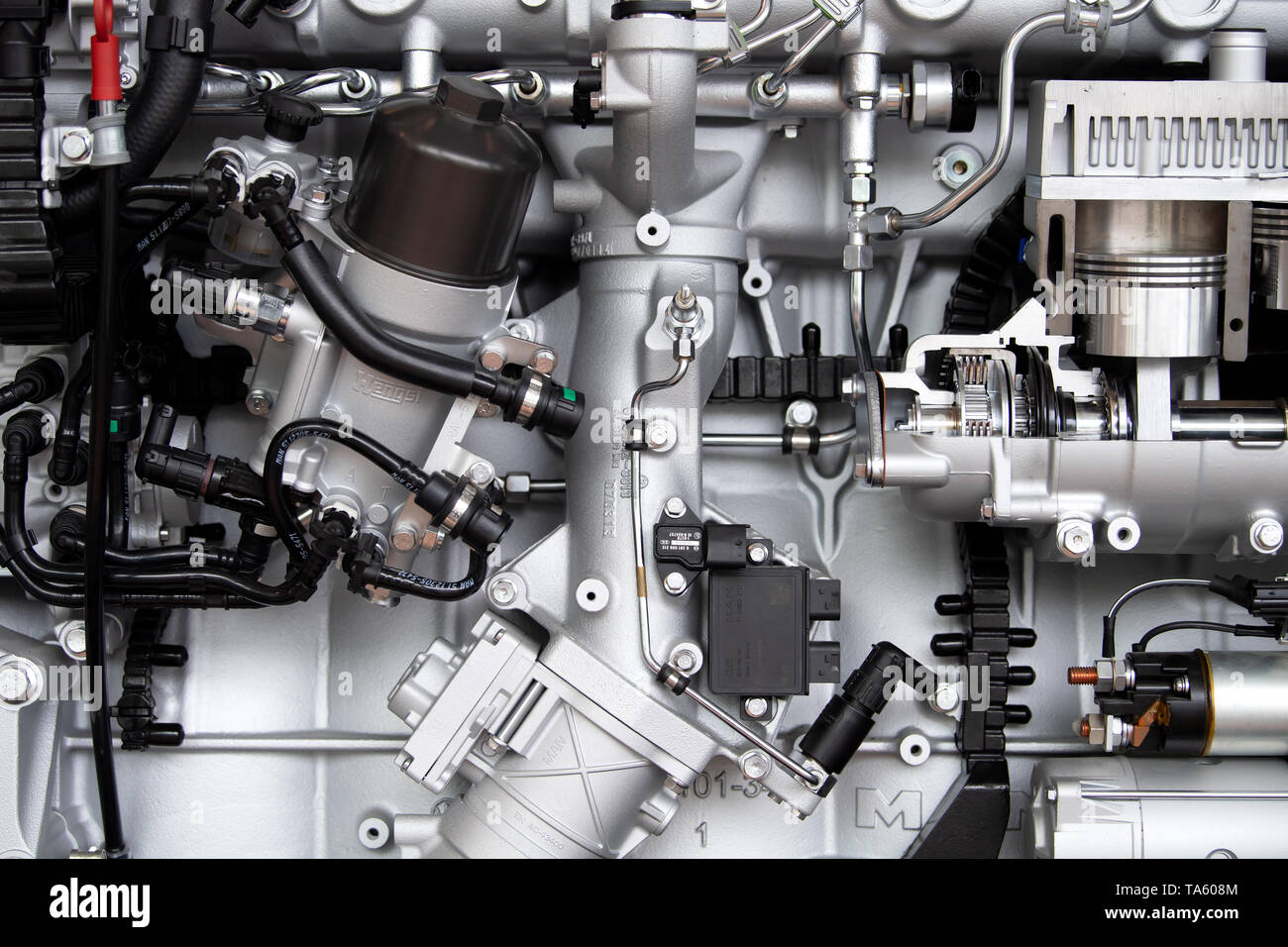 Munich, Germany. 22nd May, 2019. A MAN SE truck engine is to be seen before the start of the Annual General Meeting. The bus and truck manufacturer now owns 95 percent of the VW subsidiary Traton SE, which plans to go public shortly. Credit: Sven Hoppe/dpa/Alamy Live News - Stock Image