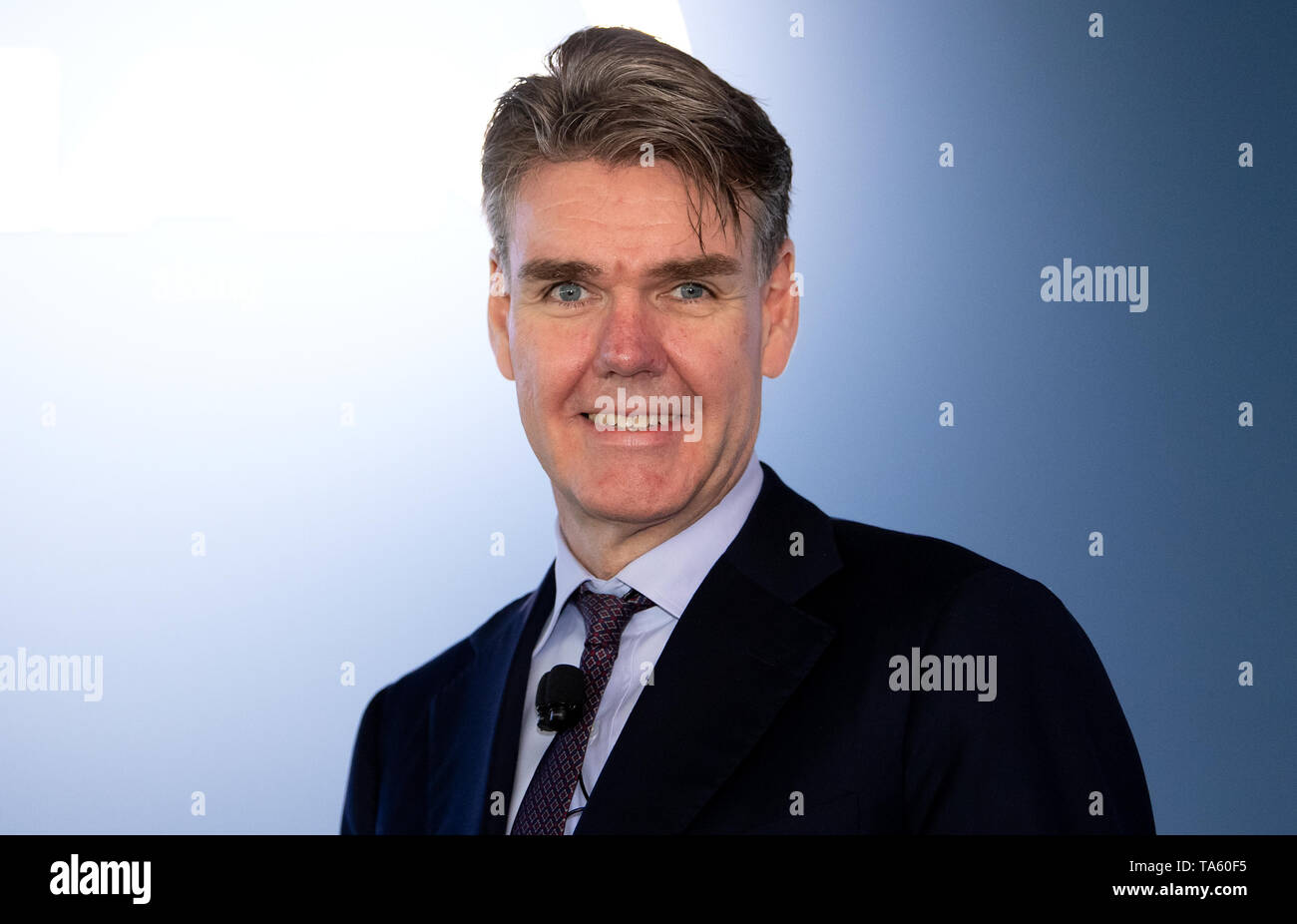 Munich, Germany. 22nd May, 2019. Joachim Drees, CEO of MAN SE, will be on the podium before the start of the Annual General Meeting. The bus and truck manufacturer now owns 95 percent of the VW subsidiary Traton SE, which plans to go public shortly. Credit: Sven Hoppe/dpa/Alamy Live News - Stock Image