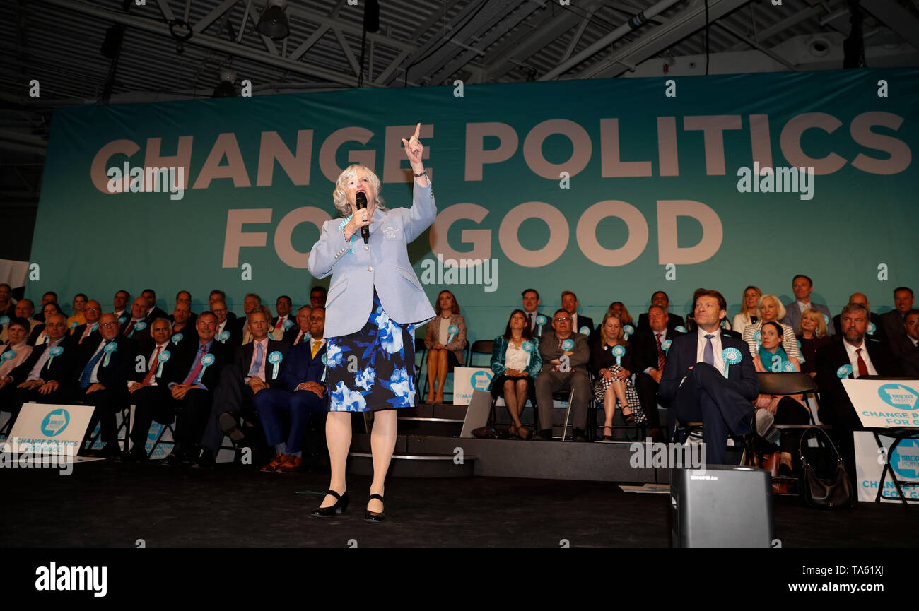 London, UK. 21st May, 2019. European Parliament election candidate Ann Widdecombe addresses a Brexit Party campaign event for the upcoming European Parliament election in London, Britain on May 21, 2019. Credit: Han Yan/Xinhua/Alamy Live News - Stock Image