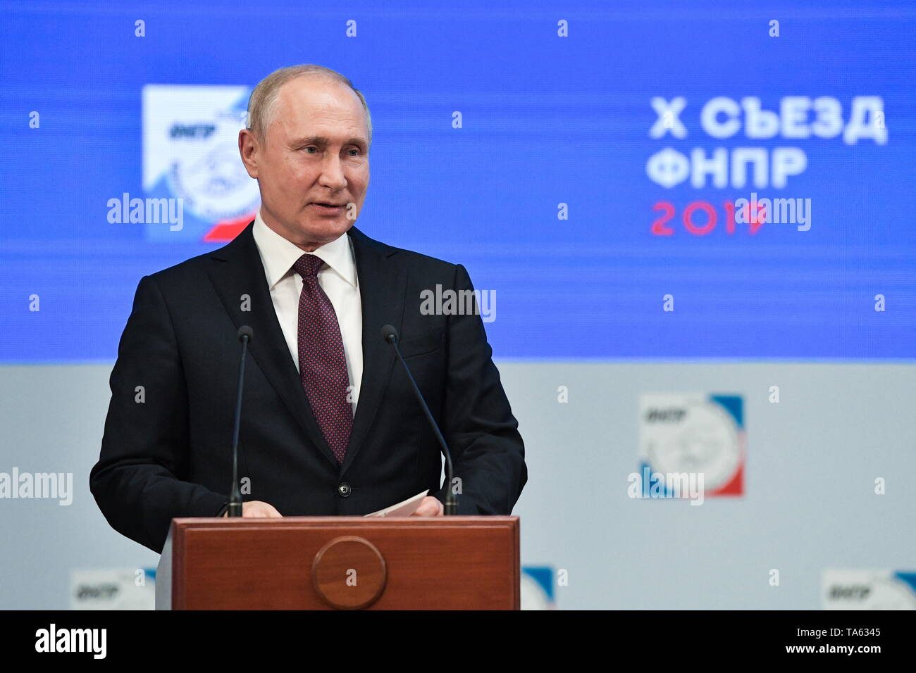 Moscow, Russia. 22nd May, 2019. MOSCOW, RUSSIA - MAY 22, 2019: Russia's President Vladimir Putin addresses the 10th Congress of the Russian Federation of Independent Trade Unions at the Izmailovo Concert Hall. Alexei Nikolsky/Russian Presidential Press and Information Office/TASS Credit: ITAR-TASS News Agency/Alamy Live News - Stock Image