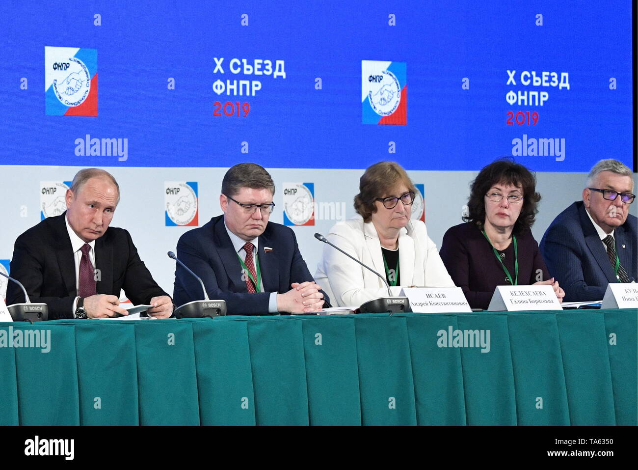 Moscow, Russia. 22nd May, 2019. MOSCOW, RUSSIA - MAY 22, 2019: Russia's President Vladimir Putin and State Duma member Andrei Isayev (L-R) attend the 10th Congress of the Russian Federation of Independent Trade Unions at the Izmailovo Concert Hall. Alexei Nikolsky/Russian Presidential Press and Information Office/TASS Credit: ITAR-TASS News Agency/Alamy Live News - Stock Image
