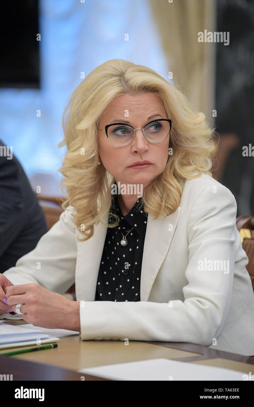 Moscow, Russia. 22nd May, 2019. MOSCOW, RUSSIA - MAY 22, 2019: Russian Deputy Prime Minister Tatyana Golikova during a meeting of Russia's President Vladimir Putin with members of the Russian Government at the Moscow Kremlin. Alexei Druzhinin/Russian Presidential Press and Information Office/TASS Credit: ITAR-TASS News Agency/Alamy Live News - Stock Image