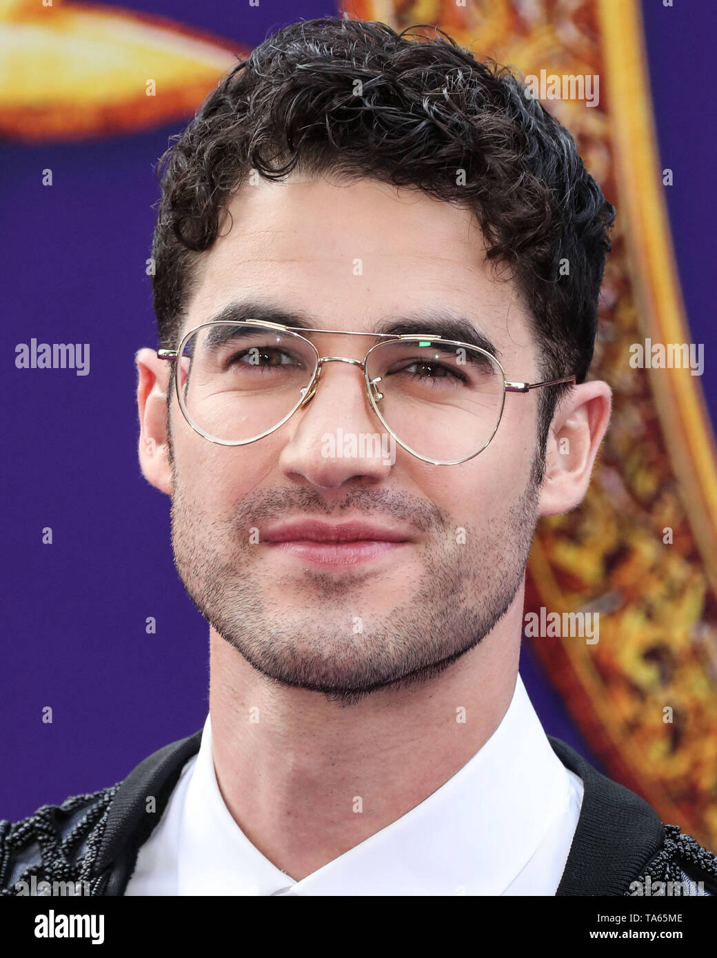Hollywood, United States. 21st May, 2019. HOLLYWOOD, LOS ANGELES, CALIFORNIA, USA - MAY 21: Actor Darren Criss arrives at the World Premiere Of Disney's 'Aladdin' held at the El Capitan Theatre on May 21, 2019 in Hollywood, Los Angeles, California, United States. (Photo by Xavier Collin/Image Press Agency) Credit: Image Press Agency/Alamy Live News - Stock Image