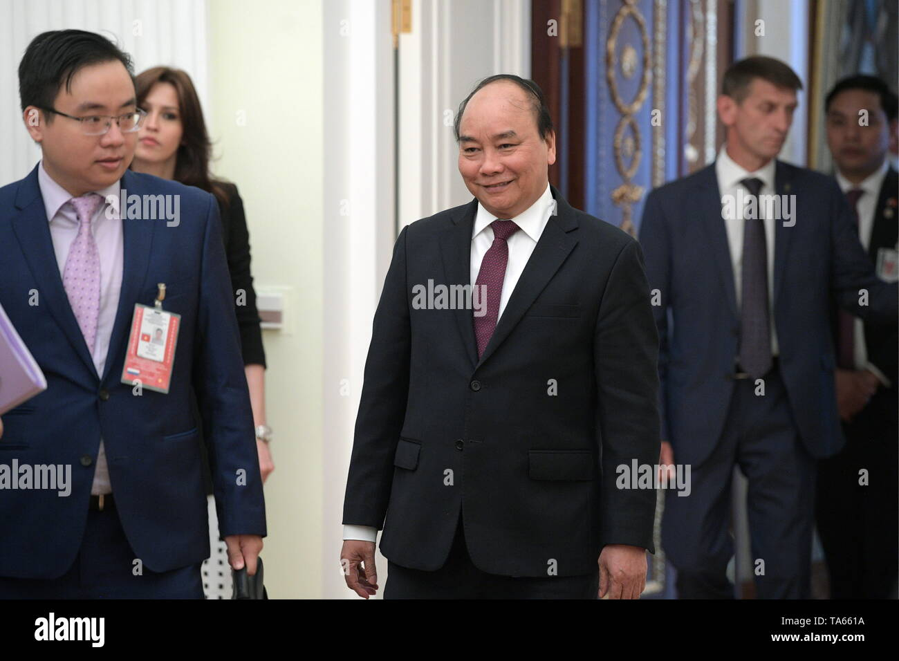 Moscow, Russia. 22nd May, 2019. MOSCOW, RUSSIA - MAY 22, 2019: Vietnam's Prime Minister Nguyen Xuan Phuc ahead of a meeting with Russia's President Vladimir Putin at the Moscow Kremlin. Alexei Druzhinin/Russian Presidential Press and Information Office/TASS Credit: ITAR-TASS News Agency/Alamy Live News - Stock Image