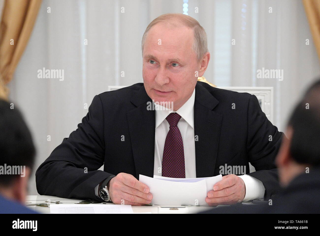 Moscow, Russia. 22nd May, 2019. MOSCOW, RUSSIA - MAY 22, 2019: Russia's President Vladimir Putin during a meeting with Vietnam's Prime Minister Nguyen Xuan Phuc at the Moscow Kremlin. Alexei Druzhinin/Russian Presidential Press and Information Office/TASS Credit: ITAR-TASS News Agency/Alamy Live News - Stock Image
