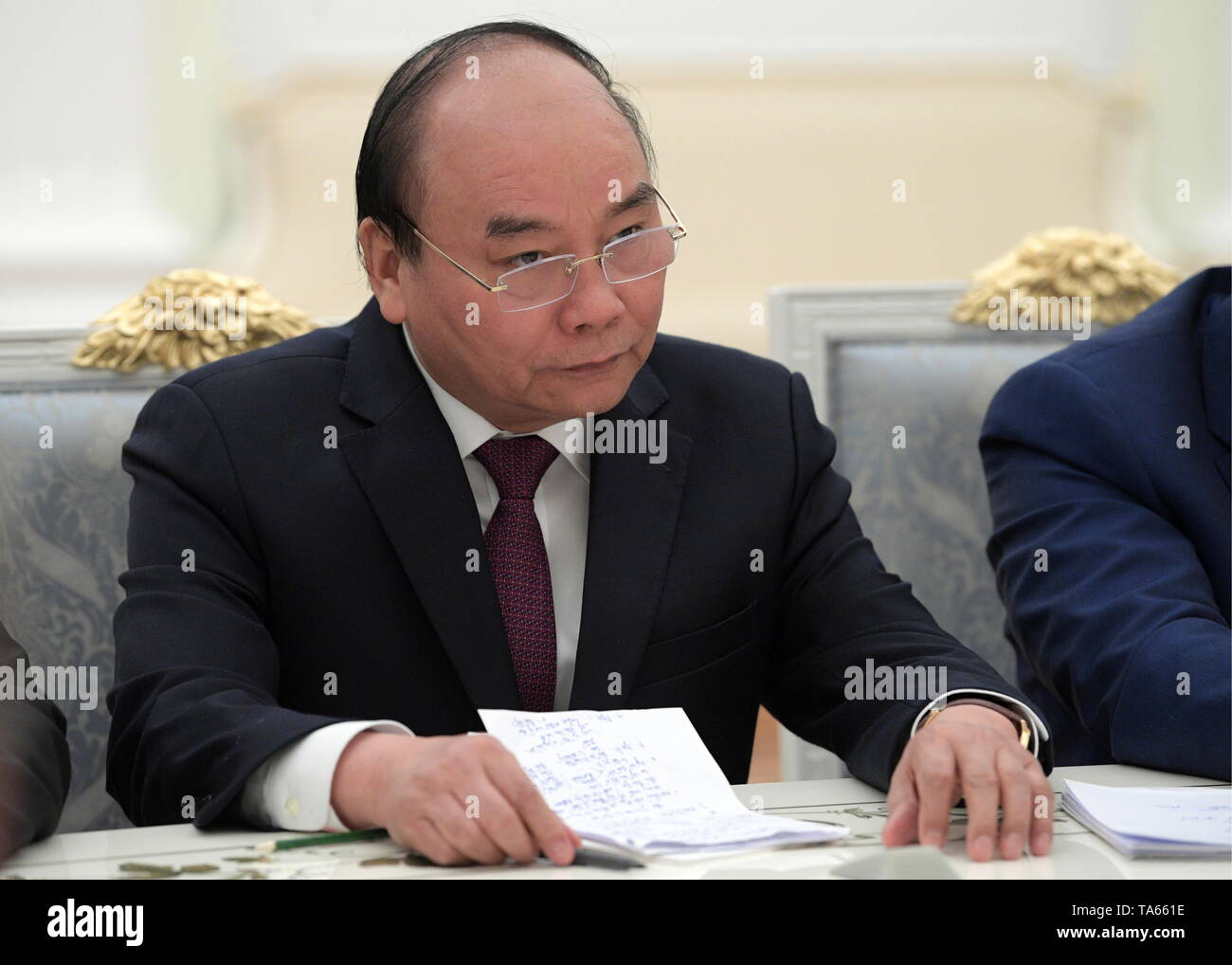 Moscow, Russia. 22nd May, 2019. MOSCOW, RUSSIA - MAY 22, 2019: Vietnam's Prime Minister Nguyen Xuan Phuc during a meeting with Russia's President Vladimir Putin at the Moscow Kremlin. Alexei Druzhinin/Russian Presidential Press and Information Office/TASS Credit: ITAR-TASS News Agency/Alamy Live News - Stock Image