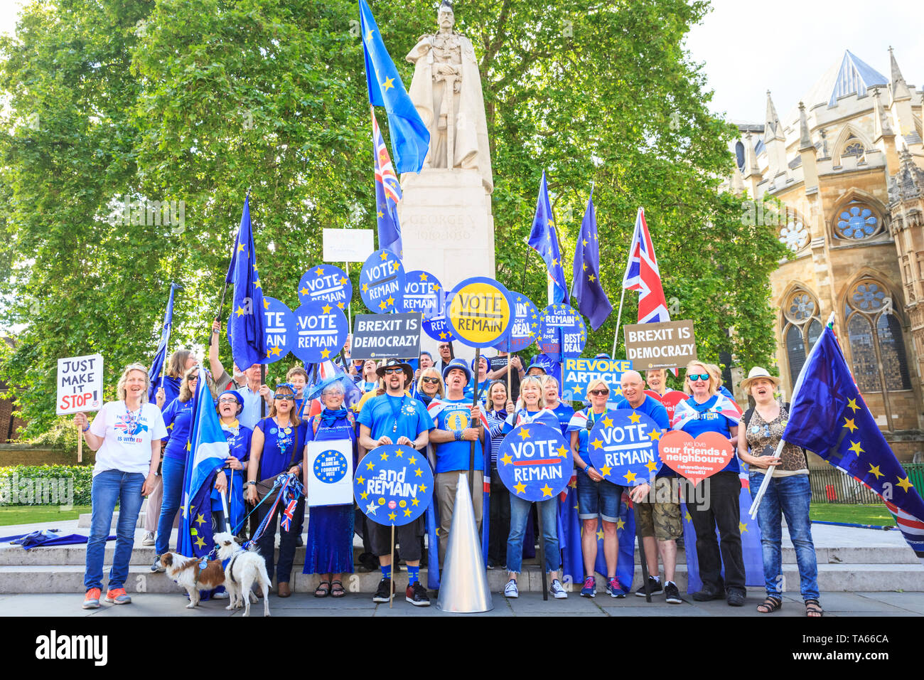Westminster, London, UK, 22nd May 2019  Anti Brexit protesters