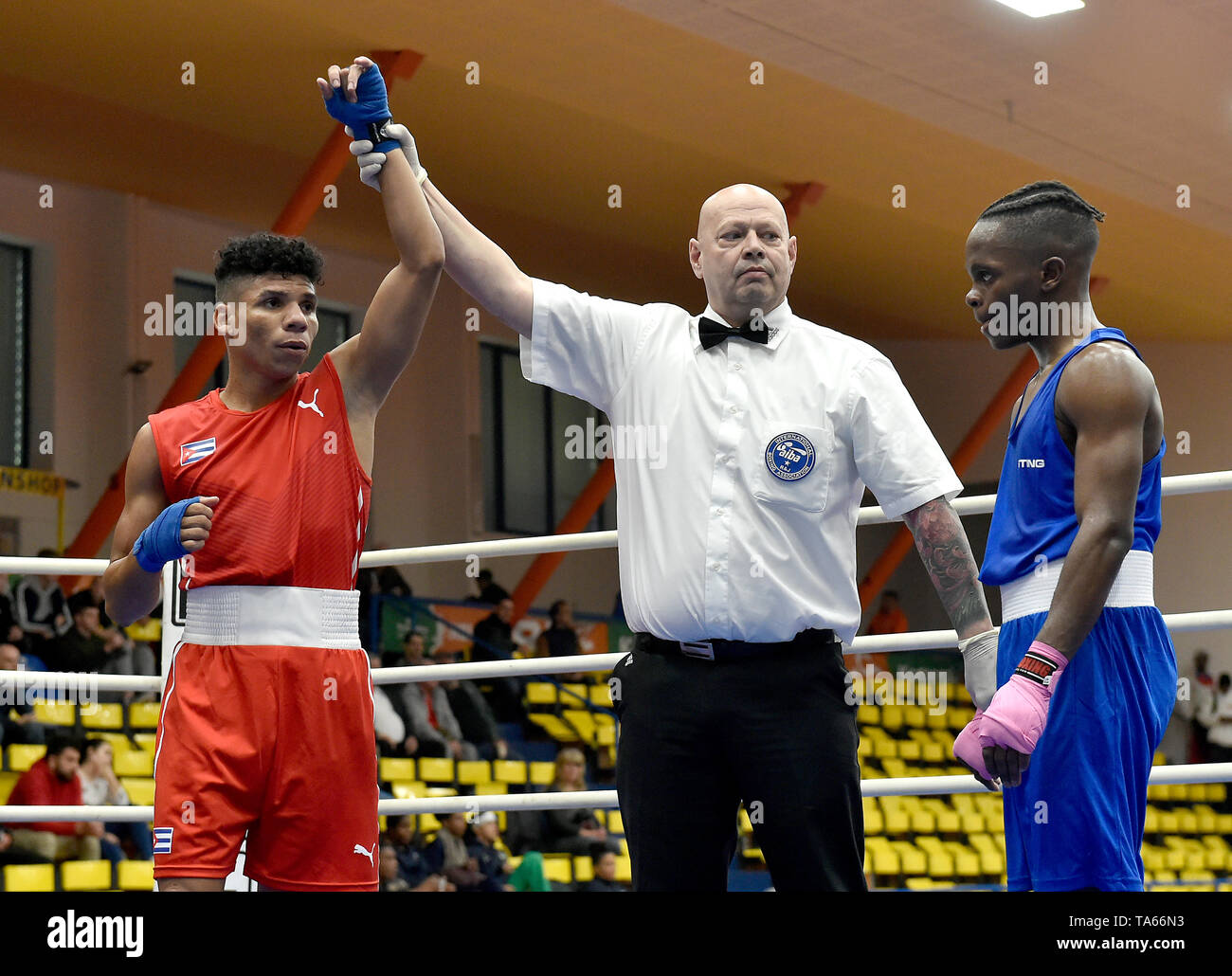 Usti Nad Labem, Czech Republic. 22nd May, 2019. From left YOSBANY VEITIA SOTO of Cuba (winner) and PHILLIP MATOMBO of Canada after the fight in 50th boxing tournament Grand Prix Usti nad Labem, Czech Republic, May 22, 2019. Credit: Ondrej Hajek/CTK Photo/Alamy Live News Stock Photo