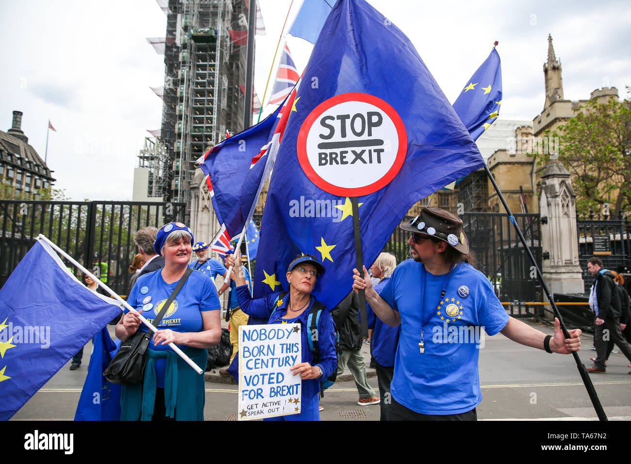 London, UK, UK. 22nd May, 2019. Anti-Brexit demonstrators are seen holding European Union Flags while protesting outside the Houses of Parliament in Westminster, London on the eve of the European Parliament elections. Credit: Dinendra Haria/SOPA Images/ZUMA Wire/Alamy Live News - Stock Image