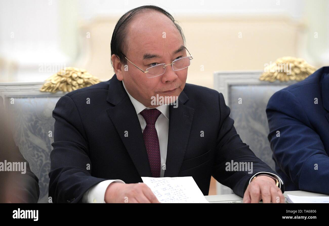 Moscow, Russia. 22nd May, 2019. Vietnamese Prime Minister Nguyen Xuan Phuc during an expanded meeting with Russian President Vladimir Putin and delegations at the Kremlin May 22, 2019 in Moscow, Russia. Credit: Planetpix/Alamy Live News - Stock Image