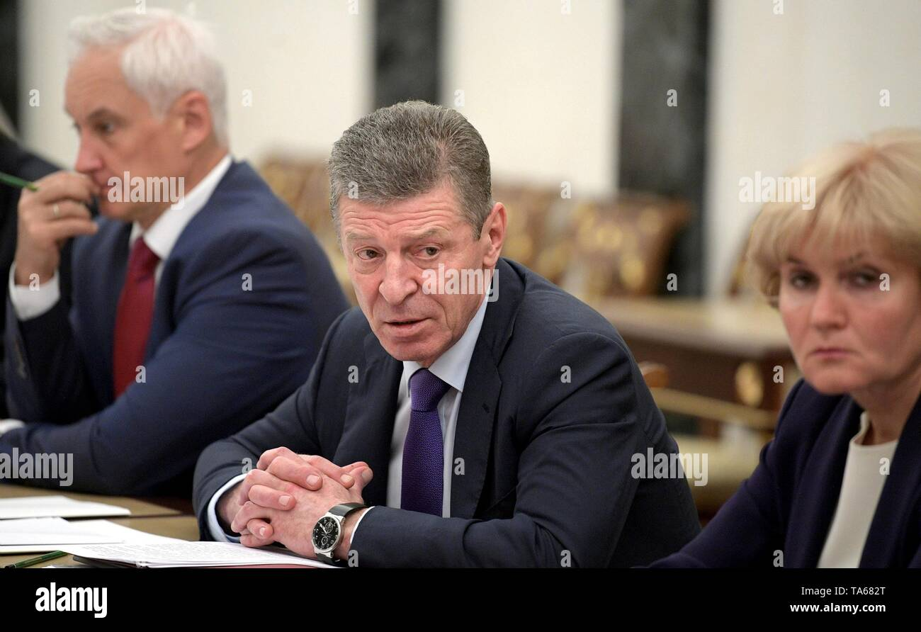 Moscow, Russia. 22nd May, 2019. Russian Deputy Prime Minister Dmitry Kozak before the regular government meeting hosted by President Vladimir Putin at the Kremlin May 22, 2019 in Moscow, Russia. Credit: Planetpix/Alamy Live News - Stock Image