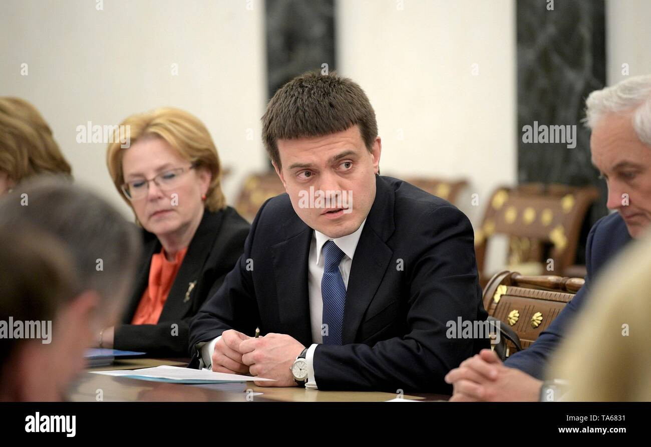 Moscow, Russia. 22nd May, 2019. Russian Minister of Science and Higher Education Mikhail Kotyukov during the regular government meeting hosted by President Vladimir Putin at the Kremlin May 22, 2019 in Moscow, Russia. Credit: Planetpix/Alamy Live News - Stock Image