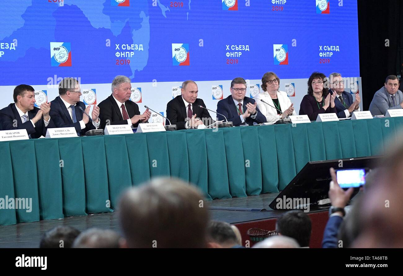 Moscow, Russia. 22nd May, 2019. Russian President Vladimir Putin is applauded during the 10th congress of the Federation of Independent Trade Unions May 22, 2019 in Moscow, Russia. Credit: Planetpix/Alamy Live News - Stock Image