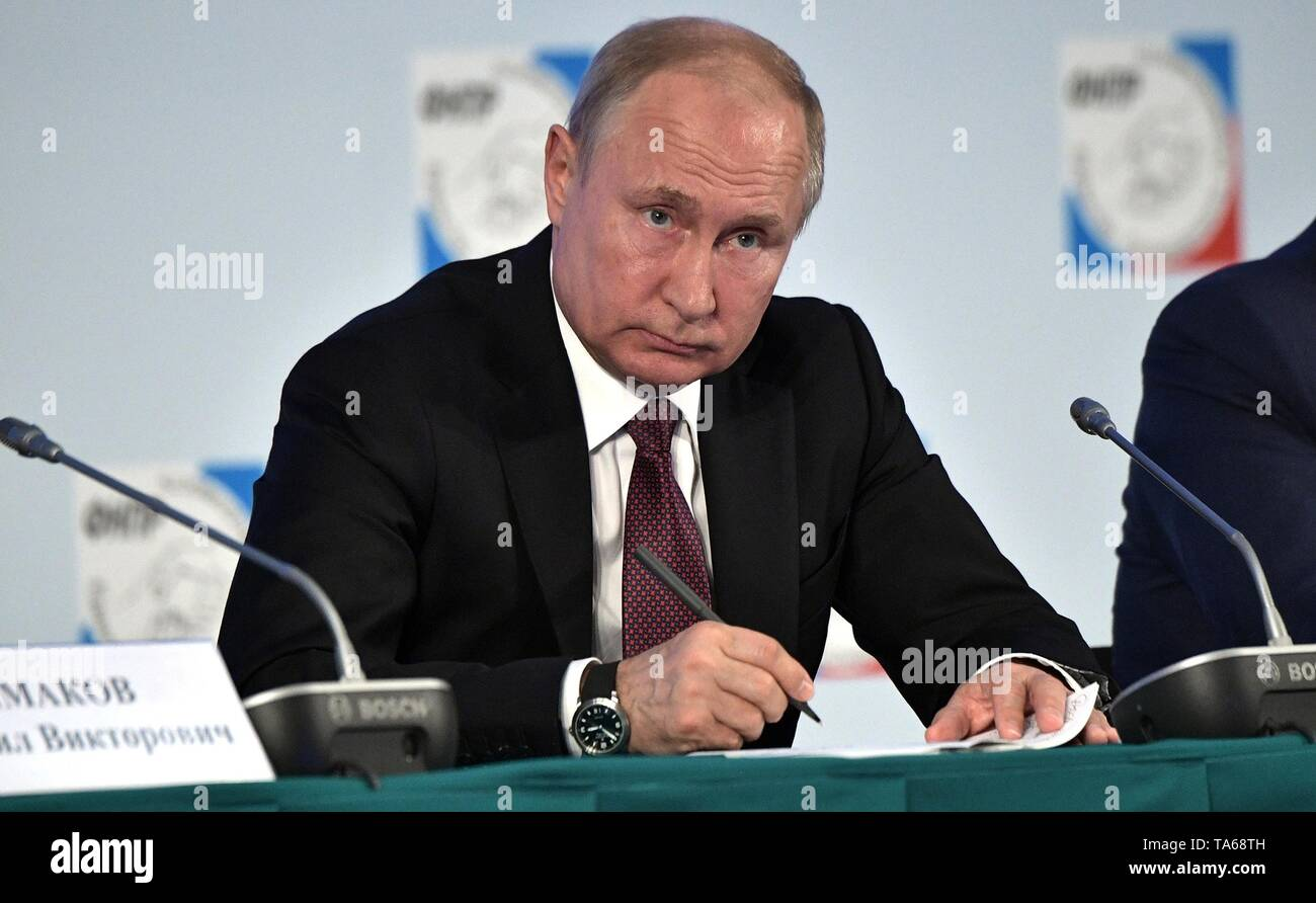 Moscow, Russia. 22nd May, 2019. Russian President Vladimir Putin attends the 10th congress of the Federation of Independent Trade Unions May 22, 2019 in Moscow, Russia. Credit: Planetpix/Alamy Live News - Stock Image