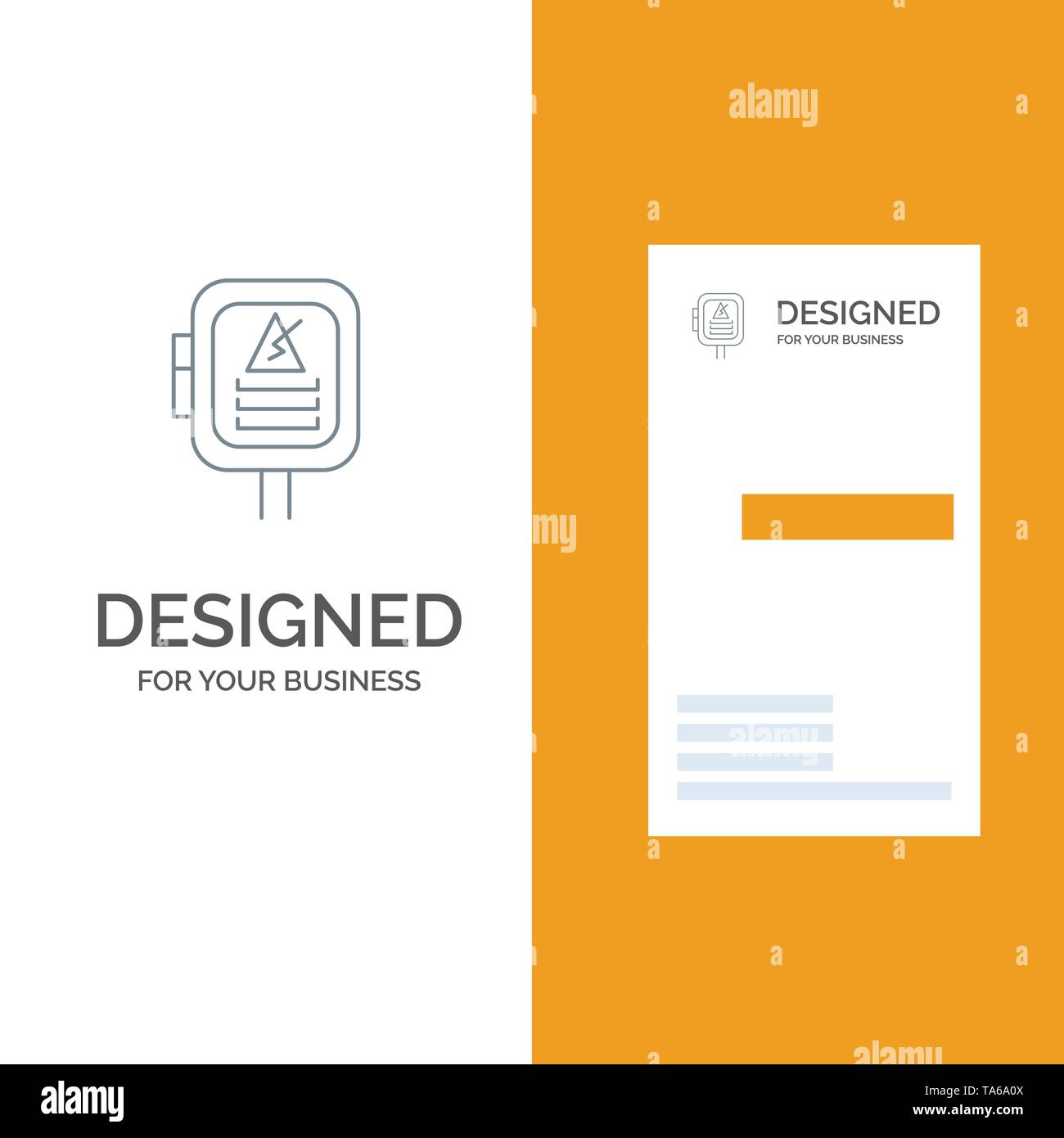 Voltage, Energy, Power, Transformer Grey Logo Design and Business Card Template - Stock Image