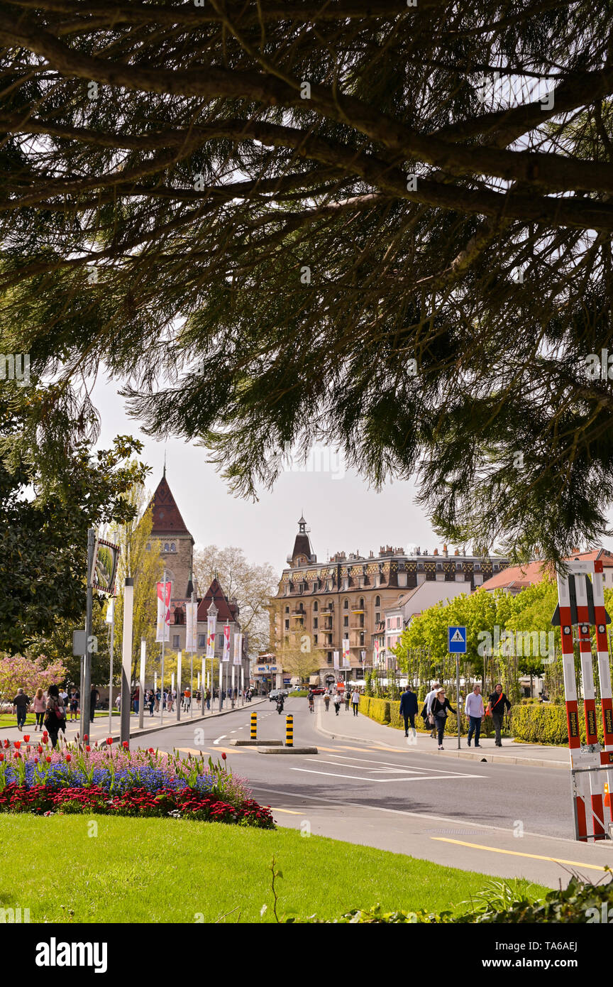 Street Lausanne in the spring and flower beds. Travels in Europe and rorism - Stock Image