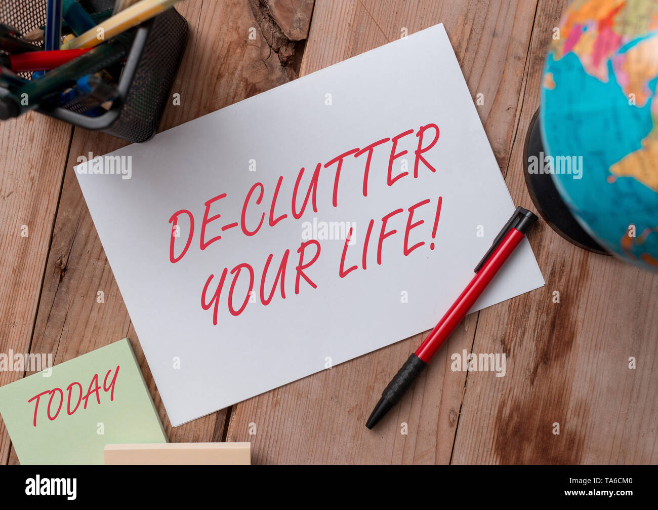 Word writing text De Clutter Your Life. Business photo showcasing remove unnecessary items from untidy or overcrowded places Writing equipments and sh - Stock Image
