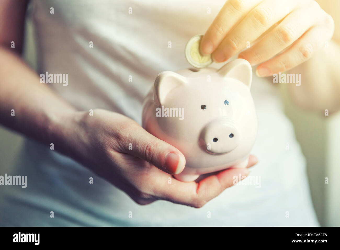 Female woman hands holding pink piggy bank and putting money Euro coin. Saving investment budget business wealth retirement financial money banking co - Stock Image