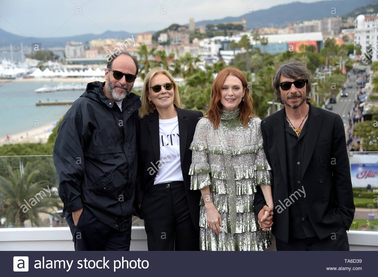 Luca Guadagnino, Julianne Moore, Marthe Keller, Pierpaolo Piccioli Cannes, 20 Maggio 2019 72 Cannes film festival - Stock Image