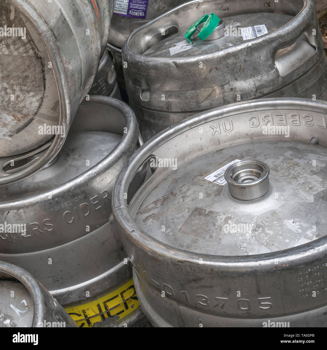 Aluminium or stainless steel beer barrels / kegs (Names of branded products are visible on labels so Editorial use). Stock Photo