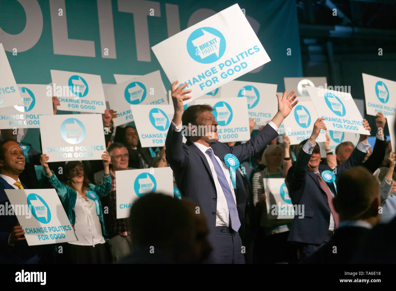 Cheers from  Candidate MEPS and members of the Brexit Party, at the end of the Rally at Olympia London. Stock Photo