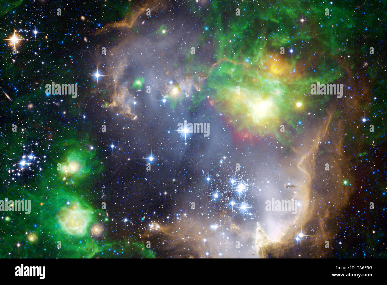 Beautiful nebula and bright stars in outer space, glowing mysterious universe. Elements of this image furnished by NASA - Stock Image