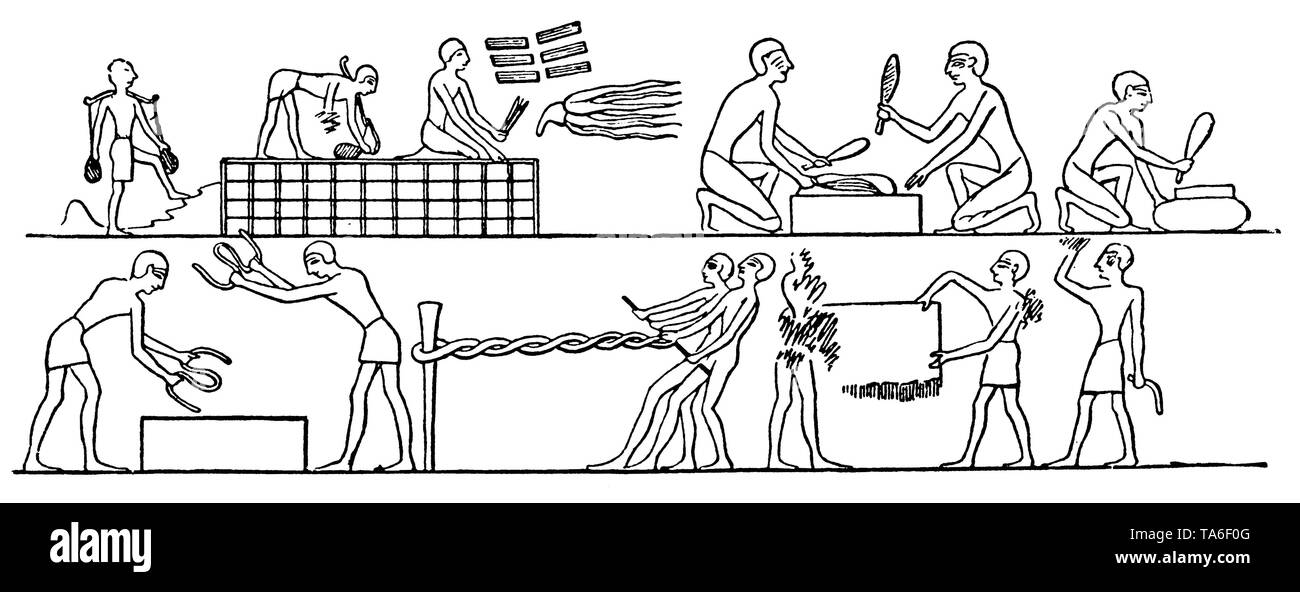 Flax laying, weaving and rope making in ancient Egypt, ,  (economy book, 1915) - Stock Image