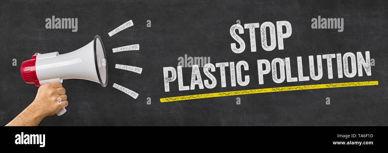 A man holding a megaphone - Stop plastic pollution - Stock Image