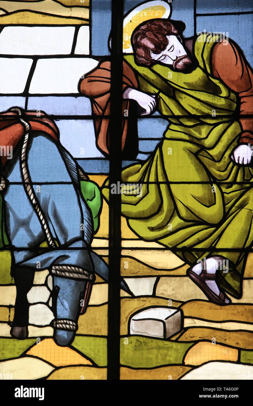 La Fuite en Egypte. Eglise Notre-Dame de Lourdes. Chaville. The Flight into Egypt. Church of Our Lady of Lourdes. Chaville. - Stock Image
