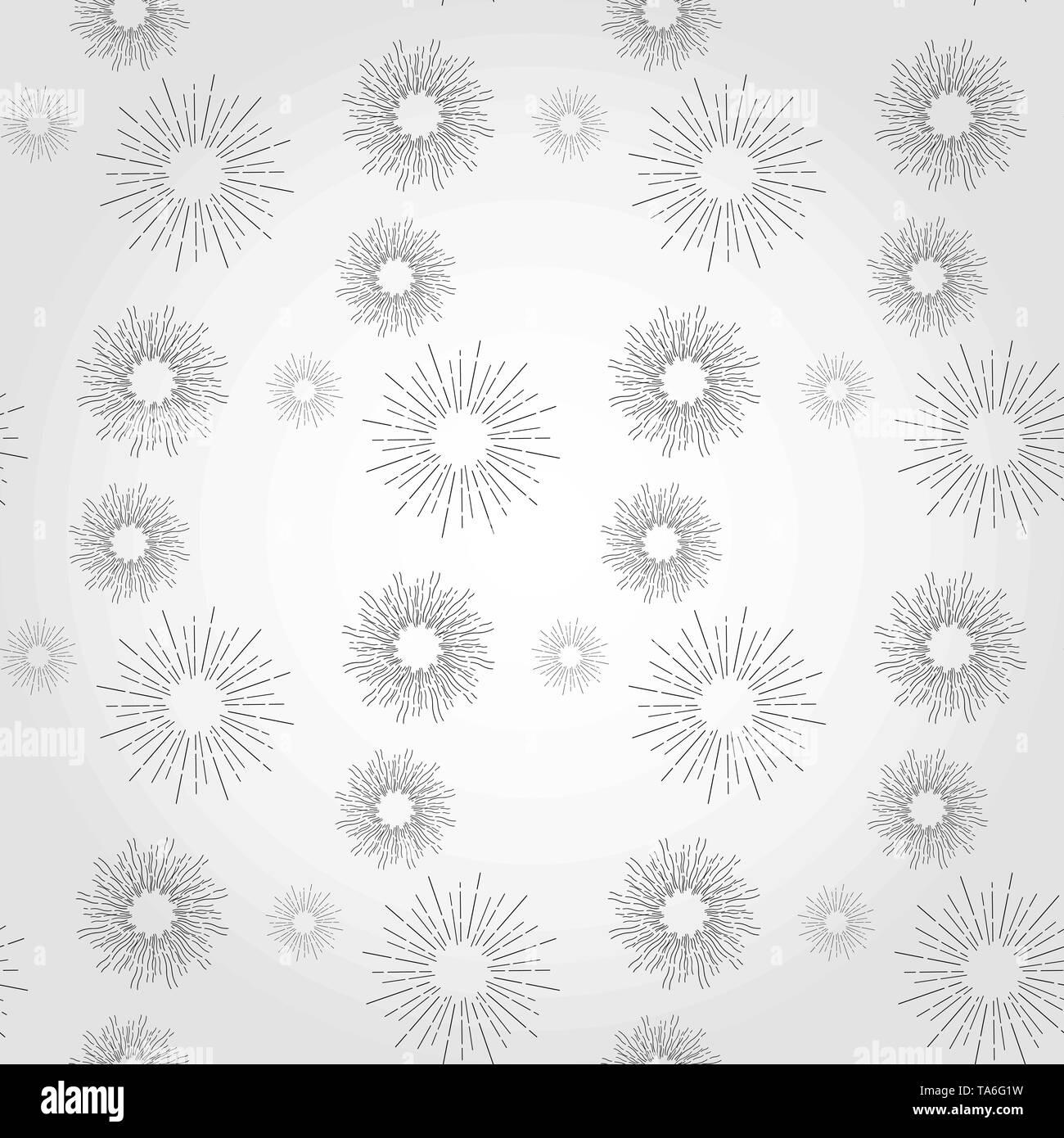 09e433ccb0a Sunshine rays seamless pattern in vintage style. Sunburst linear ...