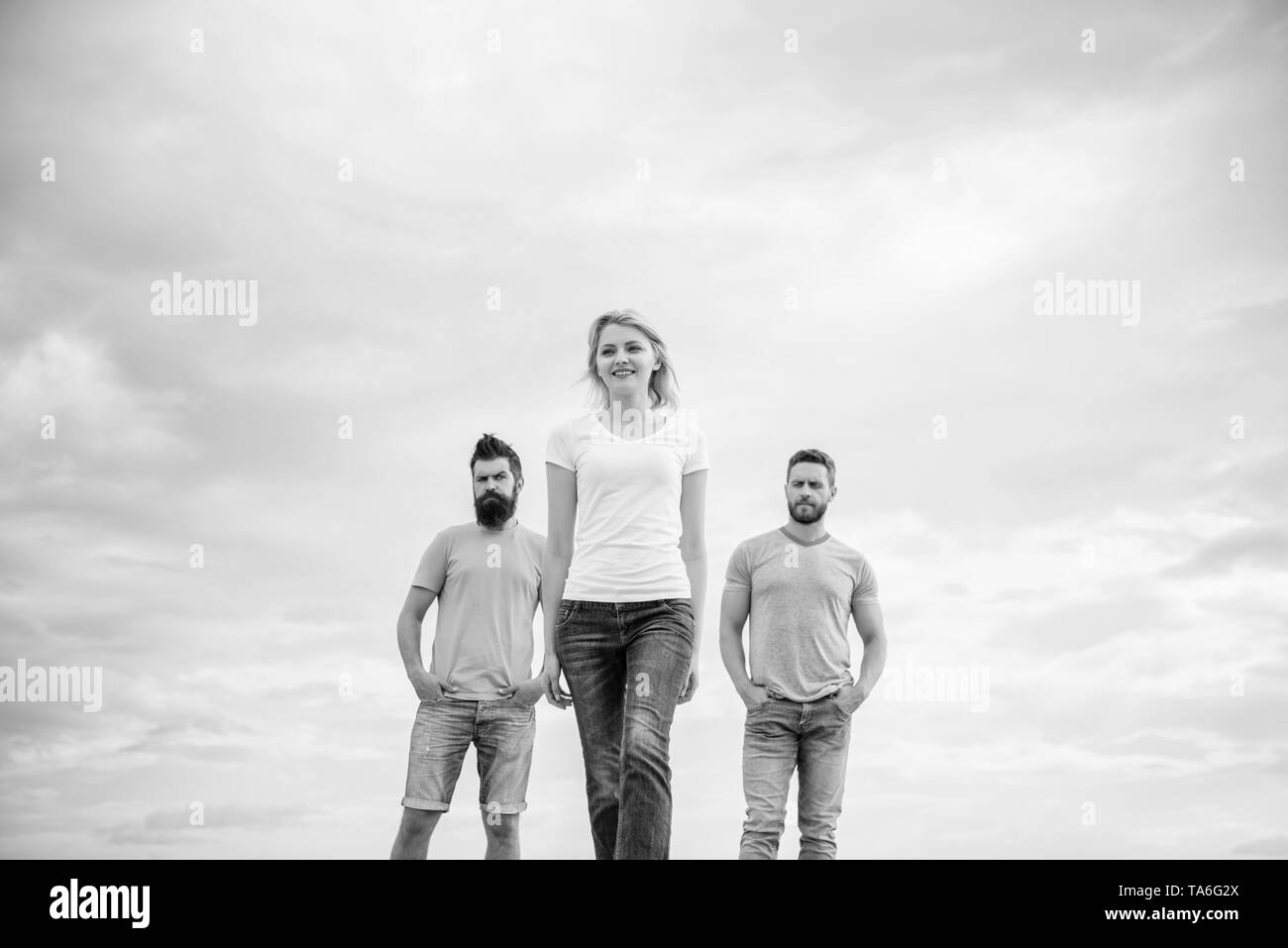 Girl leader qualities possess naturally. Influential women leader. Leadership concept. Woman in front of men feel confident. Moving forward support male team. What makes successful female leader. - Stock Image
