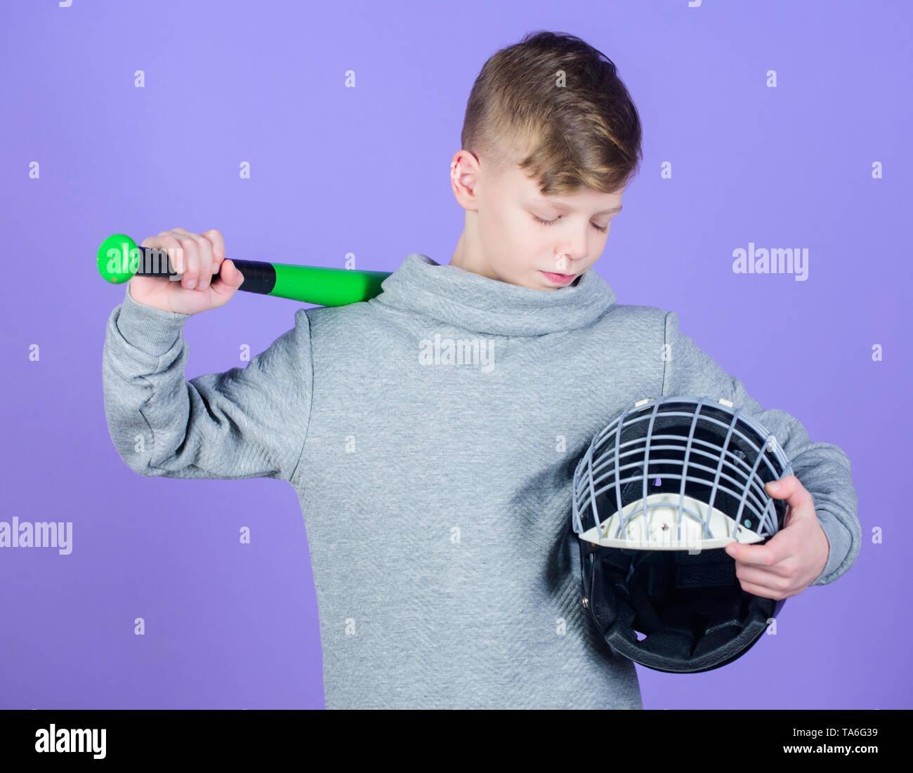 Teenager boy likes baseball. Active leisure and lifestyle. Healthy childhood. Enjoy active game. Join baseball team. Sport and baseball training concept. Boy hold baseball bat. Sport and hobby. - Stock Image