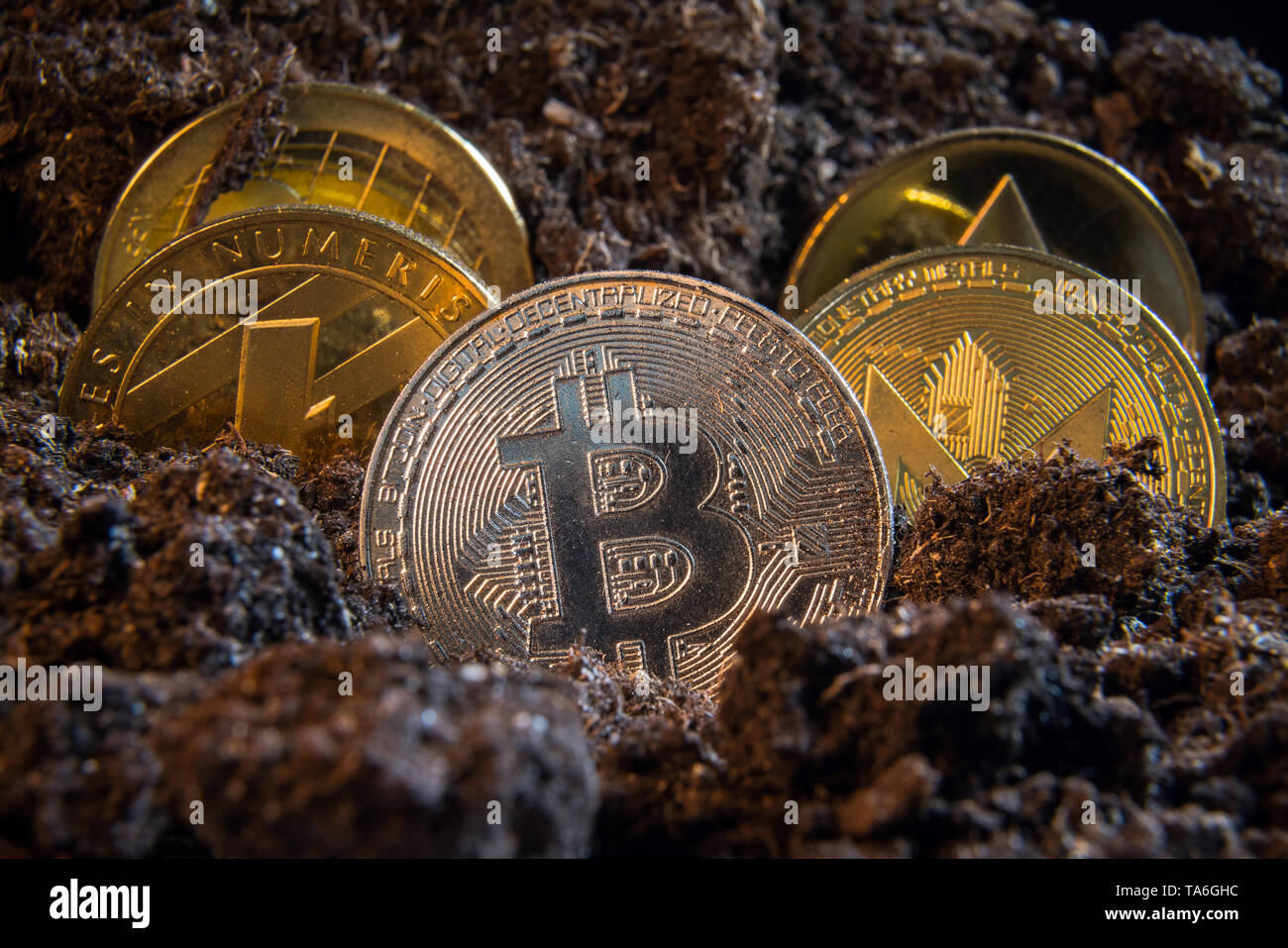 Silver bitcoin crypto currency coin in the dirt ground with others in the back: Litecoin, Ripple, Monerd, Ethereum coin. Digital currency, block chain - Stock Image