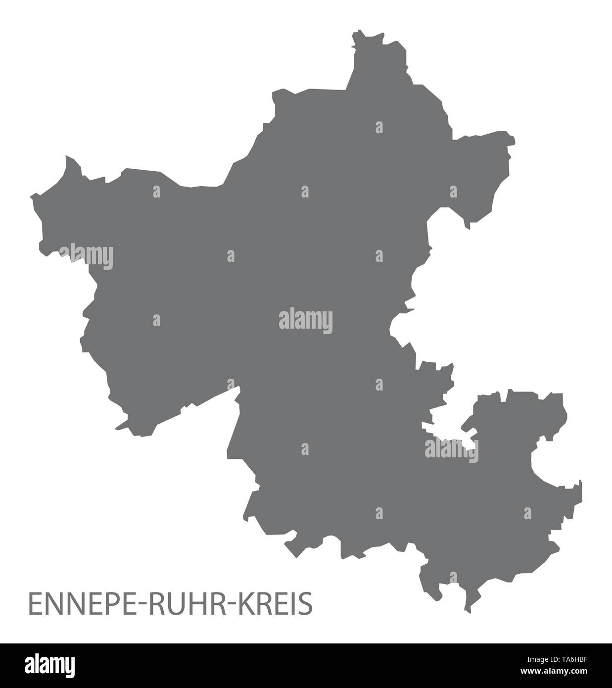 Ennepe-Ruhr-Kreis grey county map of North Rhine-Westphalia DE - Stock Image