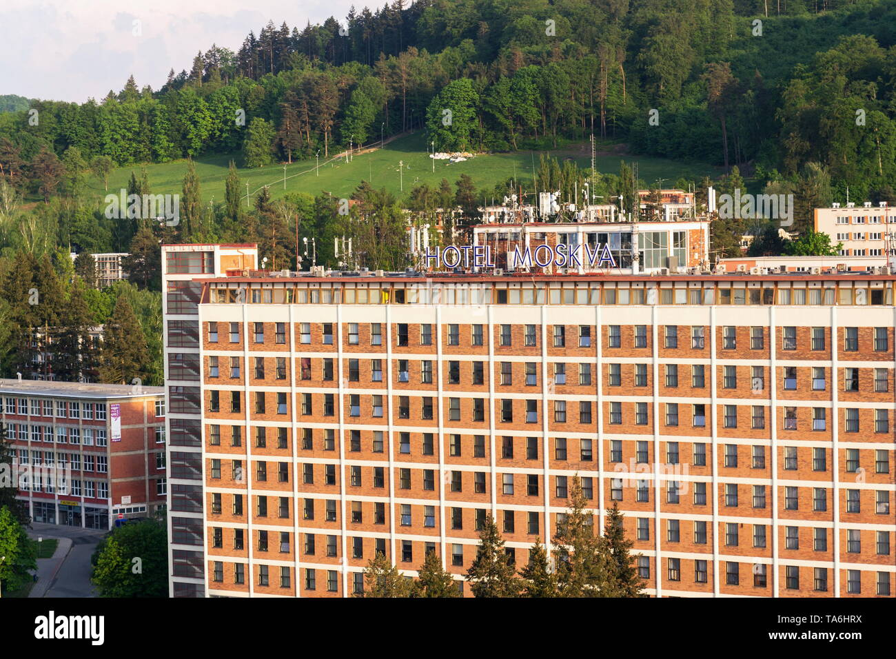 ZLIN, CZECH REPUBLIC - APRIL 29 2018: Hotel Moskva on Namesti Prace on April 29, 2018 in Zlin, Czech Republic. - Stock Image