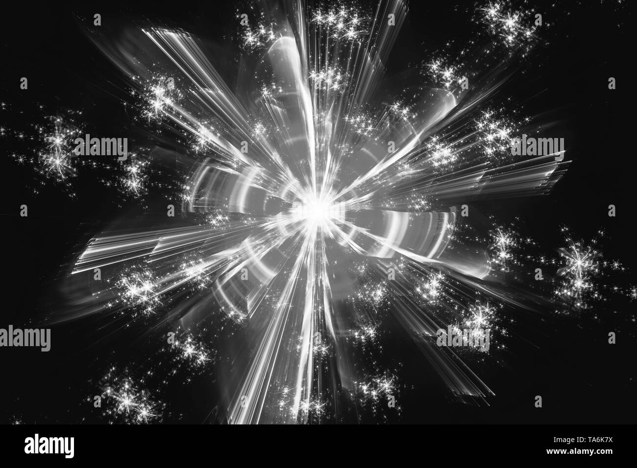 Glowing quantum fractal, computer generated abstract intensity map, black and white, screen effect. 3D rendering - Stock Image