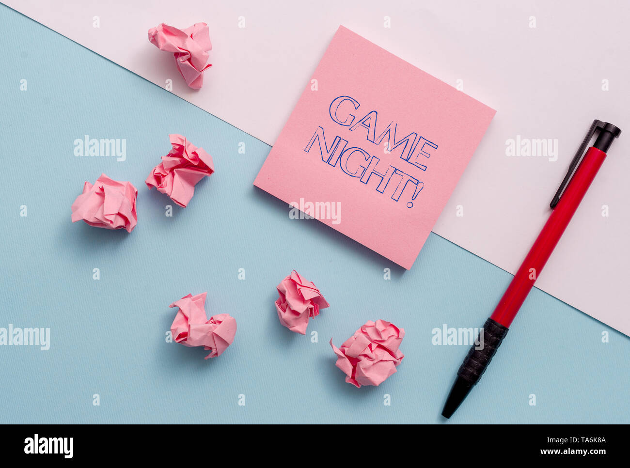 Conceptual hand writing showing Game Night. Concept meaning usually its called on adult play dates like poker with friends Stationary placed sideways  - Stock Image