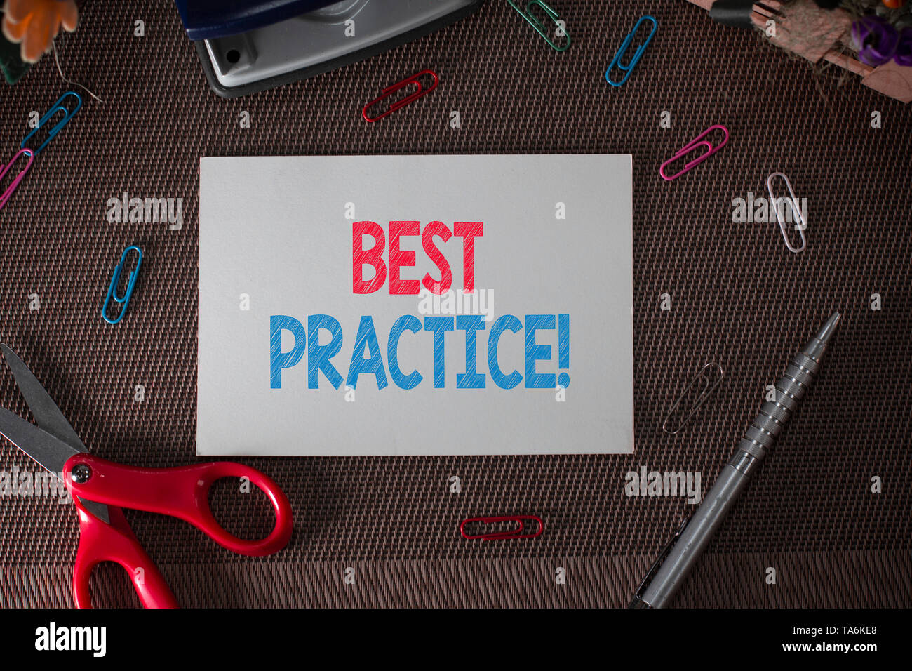 Conceptual hand writing showing Best Practice. Concept meaning commercial procedures that are accepted prescribed being correct - Stock Image
