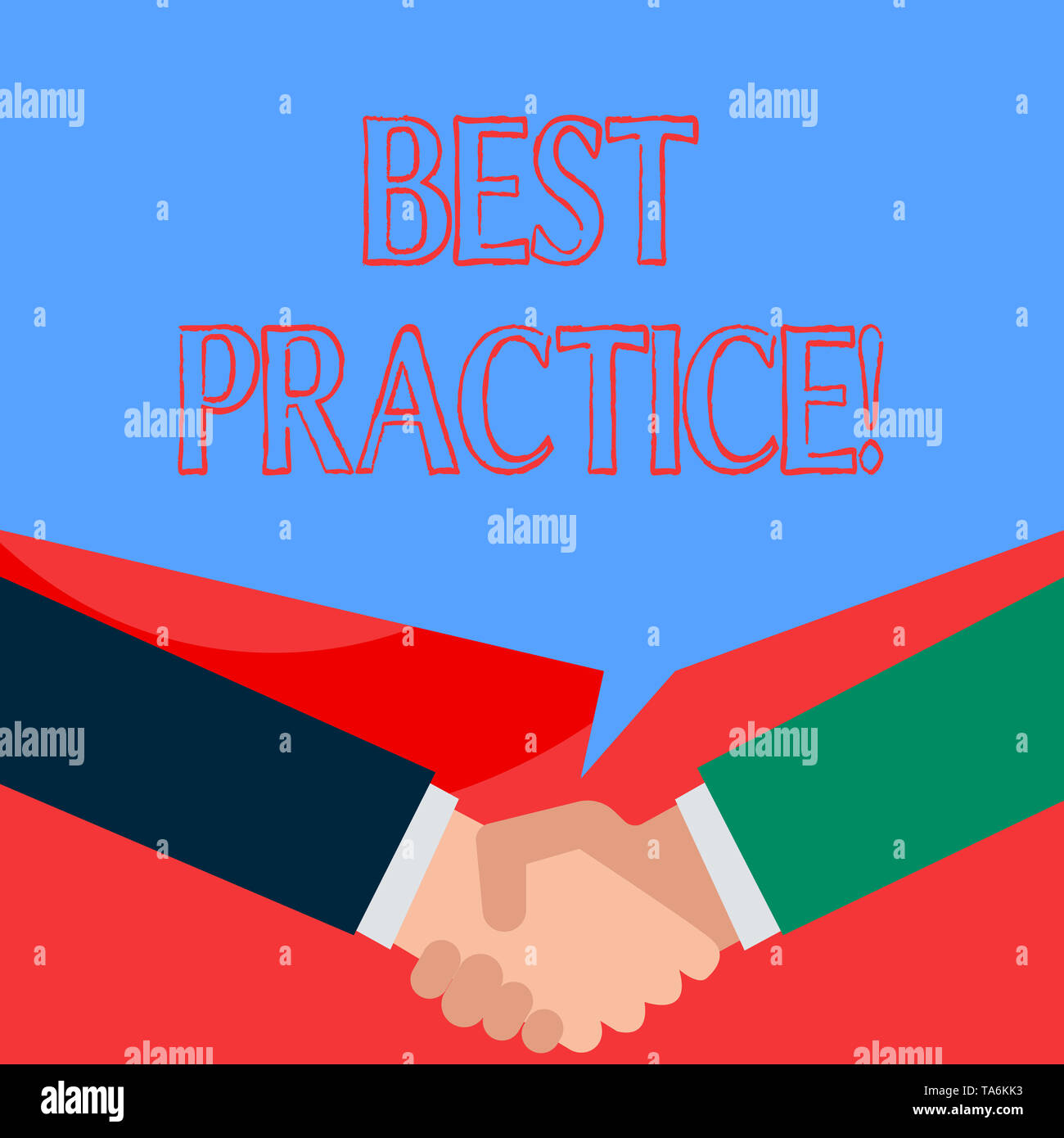 Writing note showing Best Practice. Business concept for commercial procedures that are accepted prescribed being correct Two men hands shaking showin - Stock Image
