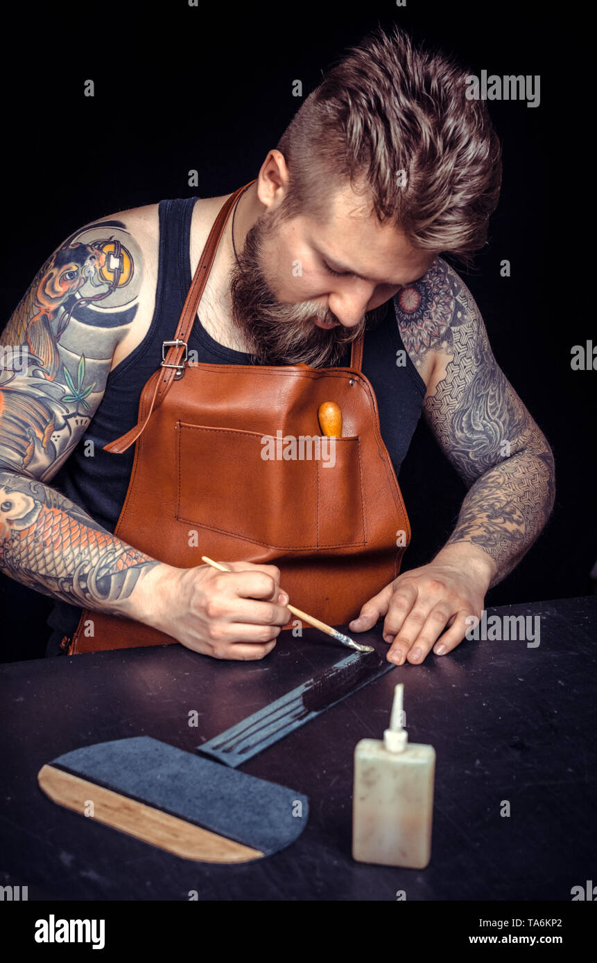 Leather Skinner produces a good product  - Stock Image